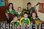 COLOURFUL: Wearing the County Colours were the young Lixnaw musicians as they played in the Lisselton/Ballydonoghue Community Games Music Competition in the Community Centre Abbeydorney on Saturday. Front l-r: Donal Hunt,Eamon Shanahan and Aoife Behan. Back l-r: Siobhan O'Donnell, Alannah Kissane and Eoin O'Connell............. ....