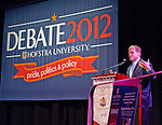 "Oct. 8, 2012 - Hempstead, New York, U.S. - DOUGLAS BRINKLEY, author, journalist and historian, speaks at Hofstra University about ""The Evolution of U.S. Presidential Debates: From G. Washington to B. Obama"" This lecture is part of ""Debate 2012 Pride Politics and Policy"" a series of events leading up to when Hofstra hosts the 2nd Presidential Debate between Obama and M. Romney, on October 16, 2012, in a Town Meeting format."