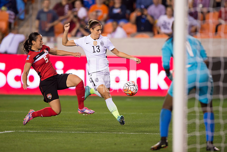 Houston, TX - February 19, 2016: The USWNT defeated Trinidad & Tobago 5-0 during the CONCACAF Women's Olympic Qualifying Tournament semifinals at BBVA Compass Stadium.  The win qualified the team for the 2016 Olympics in Brazil.
