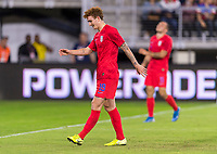 WASHINGTON, DC - OCTOBER 11: Josh Sargent #19 of the United States reacts to a missed chance during a game between Cuba and USMNT at Audi Field on October 11, 2019 in Washington, DC.