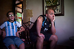 Argentinian football fans watch their national team's Russia 2018 World Cup Group D match against Croatia in a bar. Irun (Basque Country). June 21, 2018. (Gari Garaialde / BostokPhoto)