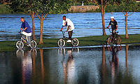 A trio of bicyclists ride on a narrow strip of land between a flooded parking lot and the Raccoon River Friday evening, June 13, 2008.