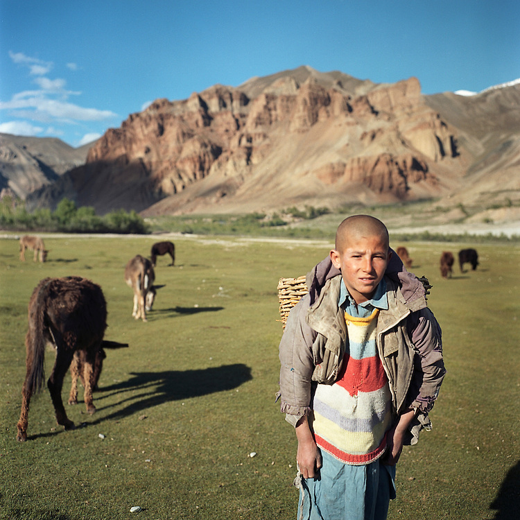 A child collects donkey dung to use for fires in Afghanistan's Wakhan Corridor.