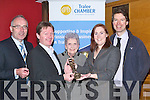 CHAIN: Caroline McEnery handed over her chain of office to Colm Clifford the Incoming President of Tralee Chamber of Commerce at their AGM in the Brandon Hotel on Monday evening.  Pictured l-r: Bob Casey, Colm Clifford, Margaret Dwyer, Caroline McEnery and Peter Harty.   Copyright Kerry's Eye 2008