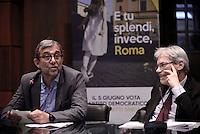 Roma, 24 Maggio 2016.<br /> Camera di commercio di Roma,<br /> Sblocca Roma, presentato dal commissario del PD , dal candidato Pd Roberto Giachetti, dal sottosegretario Claudio De Vincenti .