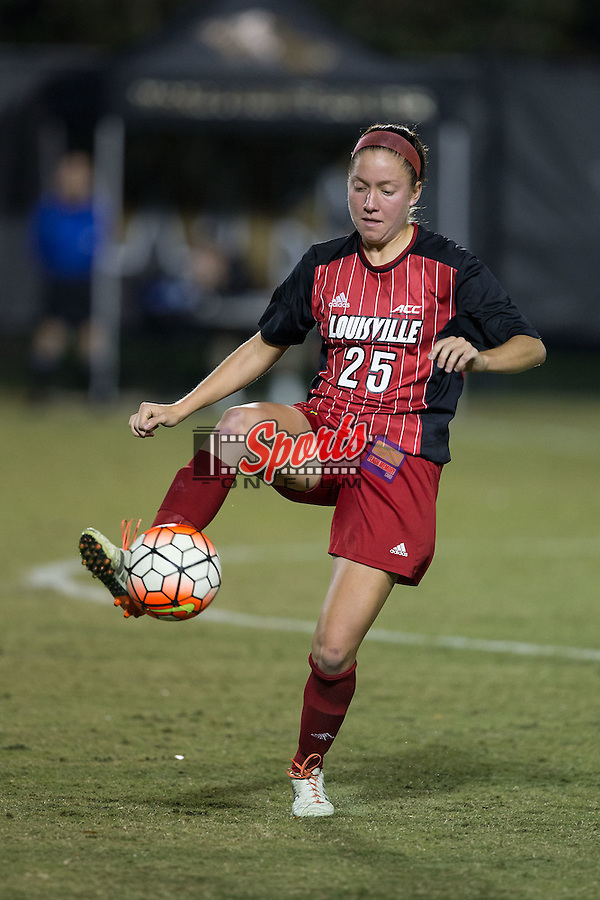 Caroline Kimble (25) of the Louisville Cardinals controls the ball during second half action against the Wake Forest Demon Deacons at Spry Soccer Stadium on October 31, 2015 in Winston-Salem, North Carolina.  The Demon Deacons defeated the Cardinals 2-1.  (Brian Westerholt/Sports On Film)
