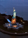 Aerial view Statue of Liberty National Monument, New York Harbor,  at night