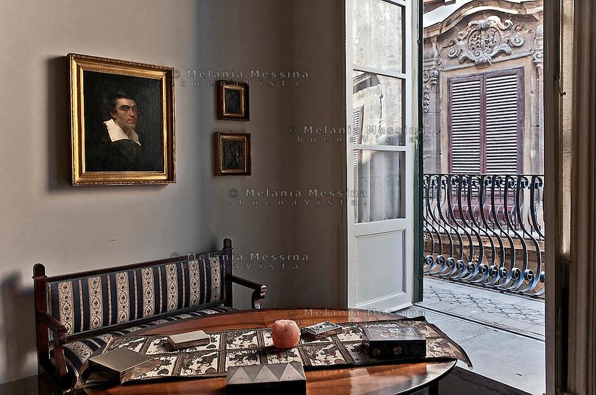 interiors of a noble private palace in Palermo.<br /> interni di un palazzo privato  nobiliare nel centro storico  di Palermo.