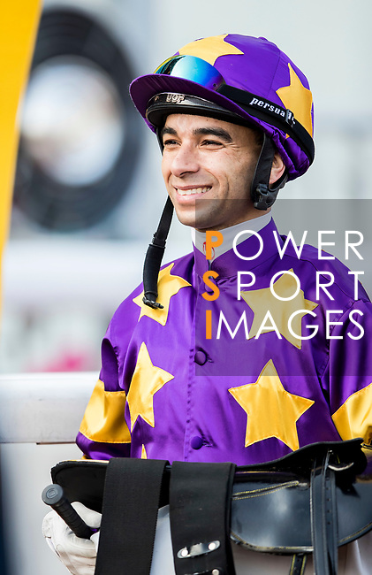 Jockey Joao Moreira riding Western Express celebrates winning the Tolo Harbour Handicap as part of Hong Kong Jockey Club Horse Racing Season 2016-17 on 02 April 2017, at Sha Tin Racecourse in Hong Kong, China. Photo by Chris Wong / Power Sport Images