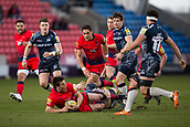 24th March 2018, AJ Bell Stadium, Salford, England; Aviva Premiership rugby, Sale Sharks versus Worcester Warriors; Dean Hammond of Worcester Warriors is tackled by Sam James of Sale Sharks