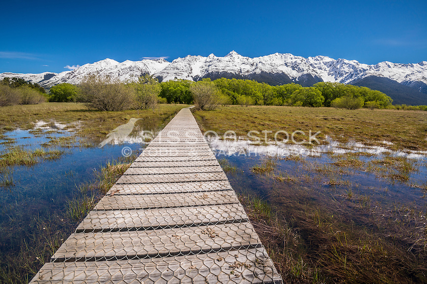 Boardwalk, Glenorchy, New Zealand - stock photo, canvas, fine art print