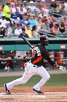 Miami Marlins shortstop Adeiny Hechavarria (3) at bat against the Houston Astros during a spring training game at the Roger Dean Complex in Jupiter, Florida on March 12, 2013. Houston defeated Miami 9-4. (Stacy Jo Grant/Four Seam Images)........