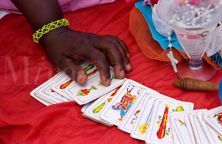 Spiritual Tallow card reading of Santeria Religion in Havana Cuba Habana