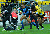 Bulls Cornal Hendricks runs for the line during the Super Rugby quarterfinal between the Hurricanes and Bulls at Westpac Stadium in Wellington, New Zealand on Saturday, 22 June 2019. Photo: Dave Lintott / lintottphoto.co.nz