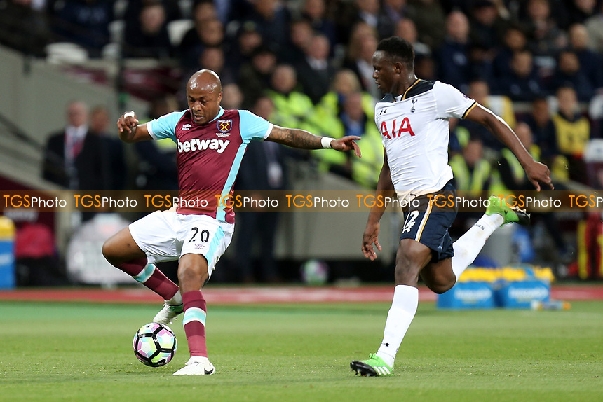 Victor Wanyama of Tottenham Hotspur and Andre Ayew of West Ham United during West Ham United vs Tottenham Hotspur, Premier League Football at The London Stadium on 5th May 2017