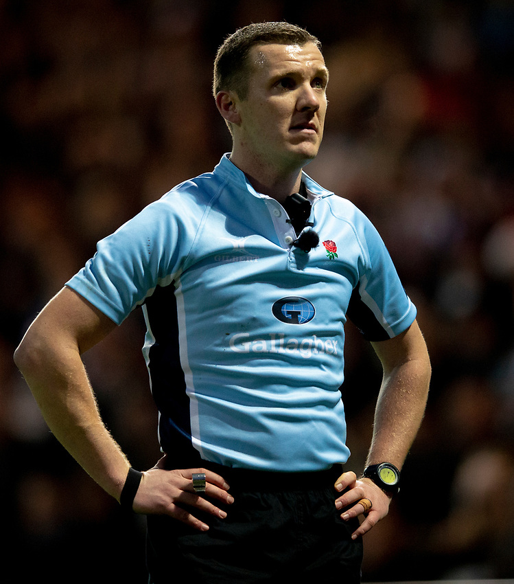 Referee Thomas Foley<br /> <br /> Photographer Bob Bradford/CameraSport<br /> <br /> Gallagher Premiership Round 10 - Exeter Chiefs v Saracens - Saturday 22nd December 2018 - Sandy Park - Exeter<br /> <br /> World Copyright © 2018 CameraSport. All rights reserved. 43 Linden Ave. Countesthorpe. Leicester. England. LE8 5PG - Tel: +44 (0) 116 277 4147 - admin@camerasport.com - www.camerasport.com