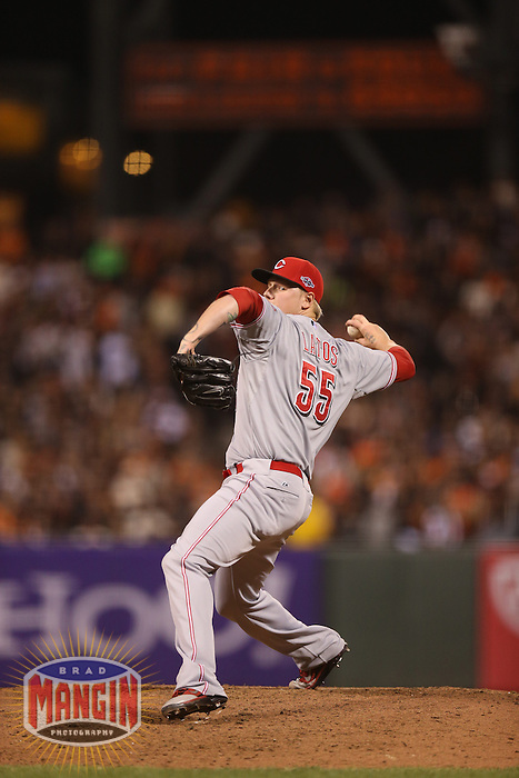 SAN FRANCISCO - OCTOBER 6:  Mat Latos of the Cincinnati Reds pitches during Game 1 of the NLDS against the San Francisco Giants at AT&T Park on October 6, 2012 in San Francisco, California. (Photo by Brad Mangin)