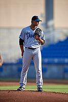 Tampa Tarpons starting pitcher Albert Abreu (36) during a game against the Dunedin Blue Jays on June 2, 2018 at Dunedin Stadium in Dunedin, Florida.  Dunedin defeated Tampa 4-0.  (Mike Janes/Four Seam Images)