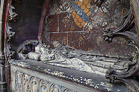 Mausoleum of Thomas de Savoie, died 1334, canon of the cathedral and chaplain to the pope in 1331, died 1334, 14th century, on the North side of the Chapelle de Notre Dame or Chapel of Our Lady, in the Basilique Cathedrale Notre-Dame d'Amiens or Cathedral Basilica of Our Lady of Amiens, built 1220-70 in Gothic style, Amiens, Picardy, France. Along the base are statues of mourners. Amiens Cathedral was listed as a UNESCO World Heritage Site in 1981. Picture by Manuel Cohen