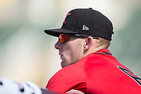 Max Dutto (6) of the Kannapolis Intimidators watches the action from the dugout during the game against the Hagerstown Suns at Kannapolis Intimidators Stadium on June 14, 2017 in Kannapolis, North Carolina.  The Intimidators defeated the Suns 4-1 in game one of a double-header.  (Brian Westerholt/Four Seam Images)