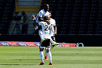 18th July 2020; Craven Cottage, London, England; English Championship Football, Fulham versus Sheffield Wednesday; Neeskens Kebano of Fulham celebrates with Anthony Knockaert after he scores for 1-0