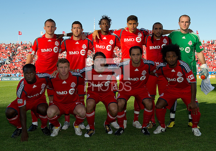 01 July 2010:  Toronto FC starting eleven during a game between the Houston Dynamo and the Toronto FC at BMO Field in Toronto..Final score was 1-1....