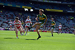 17-1-2017: Kerry's Fiachra Clifford through the Derry defence in the All-Ireland Football final at Croke Park on Sunday.<br /> Photo: Don MacMonagle