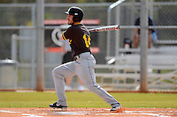 St. Bonaventure Bonnies outfielder Eric Jutca #14 at bat during a game against the South Dakota State Jackrabbits at North Charlotte Regional Park on February 23, 2013 in Port Charlotte, Florida.  South Dakota State defeated St. Bonaventure 10-5.  (Mike Janes/Four Seam Images)
