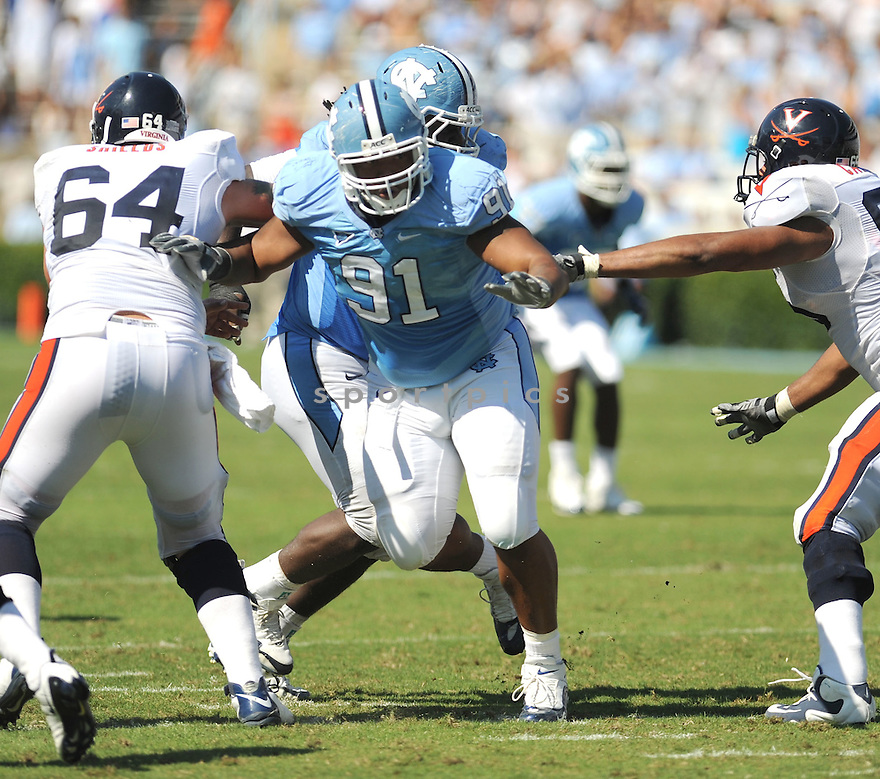 TYDREKE POWELL, of the University of North Carolina Tarheels in action during the Tarheels  game against the Virginia Cavaliers on October 3, 2009 in Chapel Hill, NC. Virginia won 16 - 3..