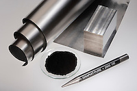 METALS AND NONMETALS: ALUMINUM METAL AND CARBON<br /> Aluminum (metal) compared to Carbon (nonmetal)<br /> Aluminum in sheet and block form- powdered carbon in a watchglass and graphite (a carbon polymorph) as a pencil.  Every element in the periodic table can be classified generally as a metal, nonmetal or metalloid.