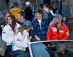 Members of the US Olympic Ski Team ride in a parade during the Olympic Homecoming Celebration at Squaw Valley on Friday night, March 21, 2014.
