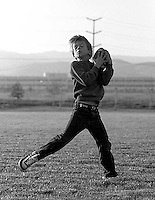 Devin Rifkin catches a ball thrown by his father, Dave, at San Ramon City Center Park, 1987.  &#xA;<br />