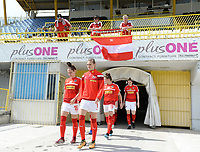 20190304 - LARNACA , CYPRUS : Austrian players with Jasmin Eder (16) and Carina Wenninger (7)  pictured entering the pitch prior to a women's soccer game between Slovakia and Austria , on Monday 4 th March 2019 at the GSZ Stadium in Larnaca , Cyprus . This is the third and last game in group C for both teams during the Cyprus Womens Cup 2019 , a prestigious women soccer tournament as a preparation on the Uefa Women's Euro 2021 qualification duels. PHOTO SPORTPIX.BE | DAVID CATRY