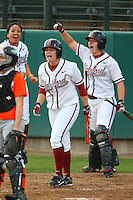 6 March 2008: Stanford Cardinal (L-R) Tricia Aggabao, Michelle Smith, and Rosey Neill during Stanford's 2-1 win against the Campbell Fighting Camels at the Boyd & Jill Smith Family Stadium in Stanford, CA.