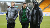 3rd February 2019, McDiarmid Park, Perth, Scotland; Ladbrokes Premiership football, St Johnston versus Celtic;  Ewan Henderson, Mikey Johnston and Timothy Weah of Celtic chat on the pitch
