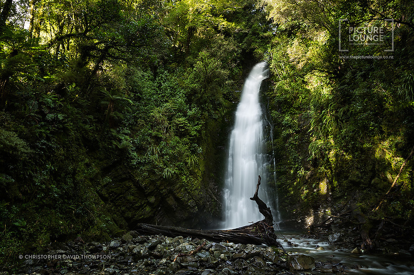 Whilst hiking on the Hollyford Track in Fiordland, photographer Christopher Thompson was delighted to arrive at this gorgeous little waterfall, where the beautiful afternoon sun was dappling the forest wall, whilst a fallen tree created a beautifully sculptural aspect to the image composition.