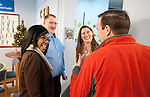 WATERBURY,  CT-122916JS08--Staff members at CHD Hospitality Center in Waterbury, from left, Shakirah Howard, Program Coordinator;  Tim Finley, homeless outreach and Lori Walling, Assistant Program Director, thank U.S. Sen. Christopher Murphy, right, for his visit to the center on Thursday. The center is for people who are homeless, giving them a chance to escape the harshness of living on the street, take a shower, use a computer or telephone, collect main and receive information to hep to transition out of homelessness. <br /> Jim Shannon Republican-American