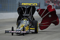 Feb. 11, 2012; Pomona, CA, USA; NHRA top fuel dragster driver Morgan Lucas during qualifying for the Winternationals at Auto Club Raceway at Pomona. Mandatory Credit: Mark J. Rebilas-