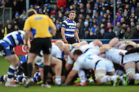 Sam Burgess of Bath Rugby watches a scrum. Aviva Premiership match, between Bath Rugby and Wasps on January 10, 2015 at the Recreation Ground in Bath, England. Photo by: Patrick Khachfe / Onside Images