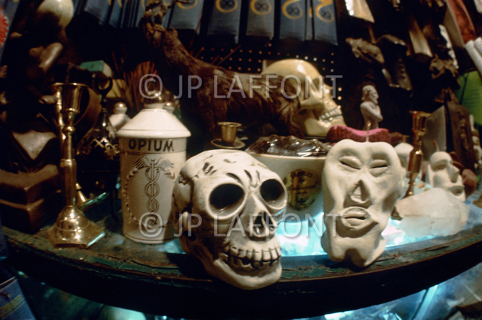 "April 1974, Brooklyn, NY. Witchcraft is the oldest religion. Mystical objects sold in the ""Warlock"" shop are used during sabbath ceremony."