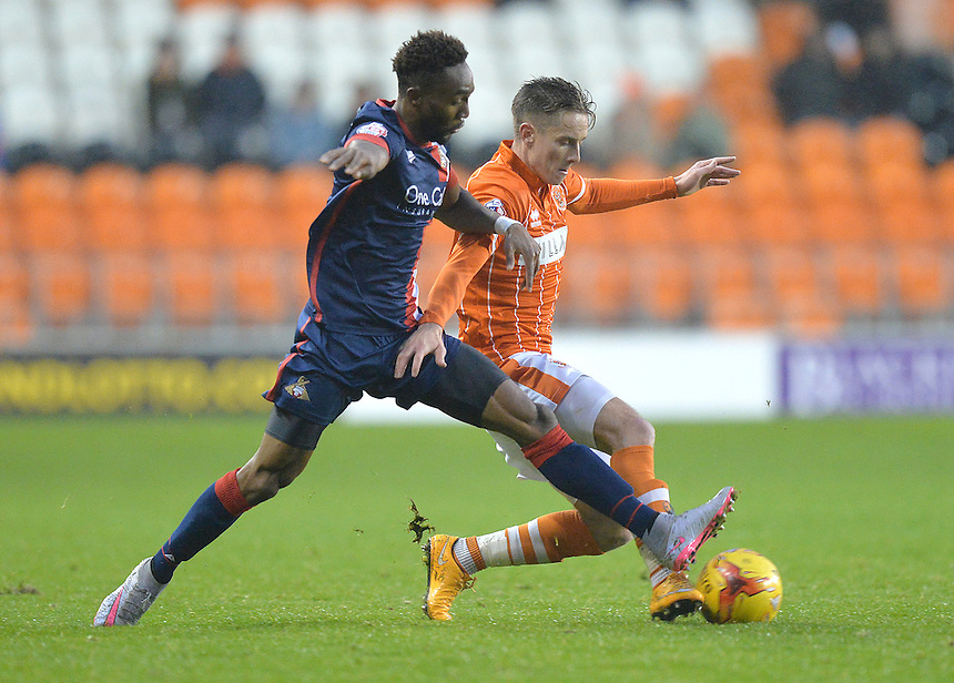Blackpool's David Ferguson battles with Doncaster Rovers' Richard Wellens<br /> <br /> Photographer Dave Howarth/CameraSport<br /> <br /> Football - The Football League Sky Bet League One - Blackpool v Doncaster Rovers - Saturday 14th November 2015 -   Bloomfield Road - Blackpool<br /> <br /> &copy; CameraSport - 43 Linden Ave. Countesthorpe. Leicester. England. LE8 5PG - Tel: +44 (0) 116 277 4147 - admin@camerasport.com - www.camerasport.com