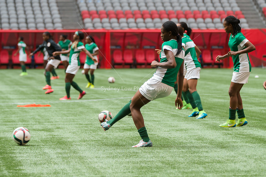 June 15, 2015:  The Nigerian team at an official practise session prior to a Group D match at the FIFA Women's World Cup Canada 2015 between Nigeria and the USA at BC Place Stadium on 16 June 2015 in Vancouver, Canada. Sydney Low/Asteriskimages.com
