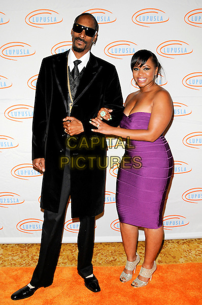 SNOOP DOGG & SHANTE BRAODUS.Lupus LA Orange Ball 2010 held at the Beverly Wilshire Hotel, Beverly Hills, California, USA..6th May 2010. .full length black sunglasses tie white shirt suit strapless purple dress married couple husband wife necklace gold waistcoat bandage silver peep toe sandals shoes .CAP/ROT.©Lee Roth/Capital Pictures