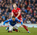 01.02.2020 Rangers v Aberdeen: Sam Cosgrove fouls Connor Goldson and the Rangers captain gets booked