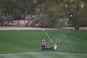 February 2nd 2019, Scottsdale, Arizona, USA; Hideki Matsuyama hits out of the sand trap on the second hole during the third round of the Waste Management Phoenix Open on February 02, 2019, at TPC Scottsdale in Scottsdale, AZ.