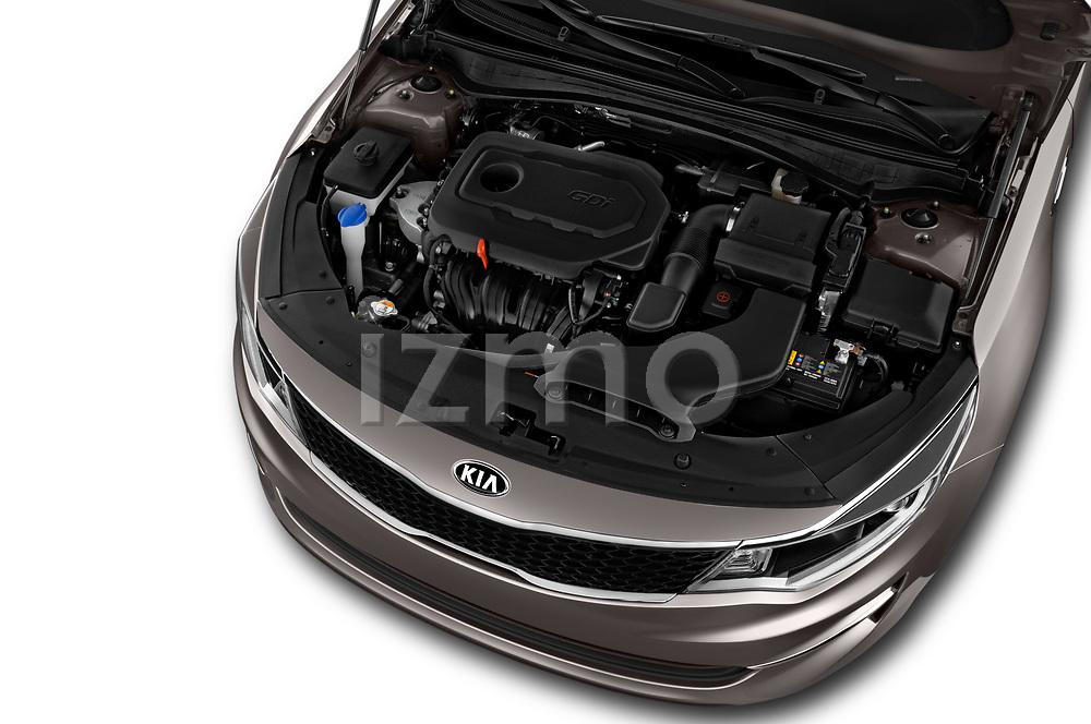 Car Stock 2018 KIA Optima LX 4 Door Sedan Engine  high angle detail view