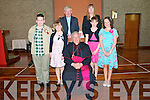 Pupils from Ballincrossigl NS who were confirmed by Bishop Bill Murphy at Ballyduff Church on Monday 4th April. Front : Oran O'Connell, Sophie Cotter, BIshop Bill Murphy, Shauna Baitson &  Aisling Leen. ..Back : Fr. Brendan Walsh & Teacher Dianne Crean.