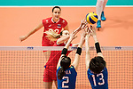 Opposite spiker Anna Lazareva of Russia (L) pass the ball during the FIVB Volleyball World Grand Prix match between Japan vs Russia on 23 July 2017 in Hong Kong, China. Photo by Marcio Rodrigo Machado / Power Sport Images