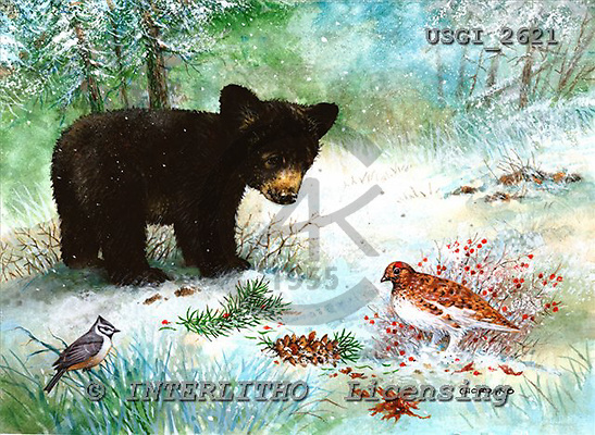 GIORDANO, CHRISTMAS ANIMALS, WEIHNACHTEN TIERE, NAVIDAD ANIMALES, paintings+++++,USGI2621,#XA#