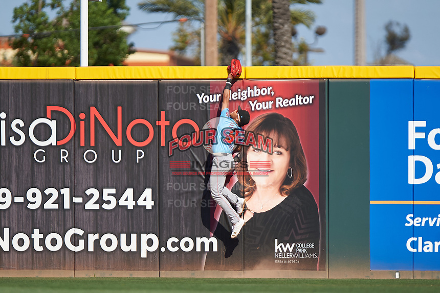 Inland Empire 66ers right fielder Jordyn Adams (9) attempts to rob a home run during a California League game against the Rancho Cucamonga Quakes at LoanMart Field on September 2, 2019 in Rancho Cucamonga, California. Rancho Cucamonga defeated Inland Empire 4-3. (Zachary Lucy/Four Seam Images)